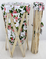 houseware foldable natural wooden frame canvas laundry bag