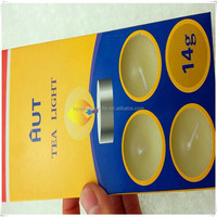 10 candles in a paper card packaging tea light candles +0086-15032098633