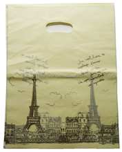 High Quality Retail Shopping Bag die cut Handle Patch plastic bag for commercial use