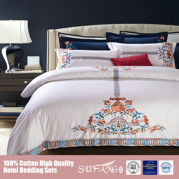 China Supplier Embroidery King Size White Sheet Angel Bedding Set