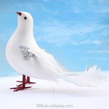 Realistic lifelike decoration white feather handicraft pigeon