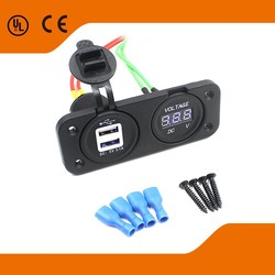 Car/Motorcycle white core double USB output+blue voltmeter used for Motorcycle/Car modified
