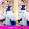 2015 New Fashion Sweetheart Layers Tulle Ball Gown Royal Blue And White Wedding Dresses