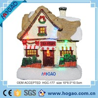 Christmas Miniature Mica Village House Feather Tree Mini Ornament
