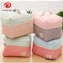 KAREADO fashion design different color and pattern beauty cosmetic bra organizer canvas makeup bag