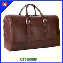 Custom High Quality Big Capacity Classy Square Men Leather Travel Bag