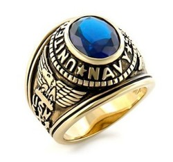 fashion jewelry custom made army ring 18k gold plated