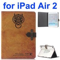 Retro Pattern Top Cow Leather Case for iPad Air 2 with Magnetic Closure
