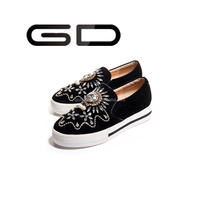 Women beads casual sneakers Increased within loafer shoes