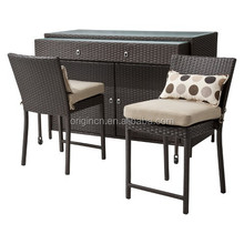 simple design outdoor ratan counter with drawer foot rail and rattan bar chair