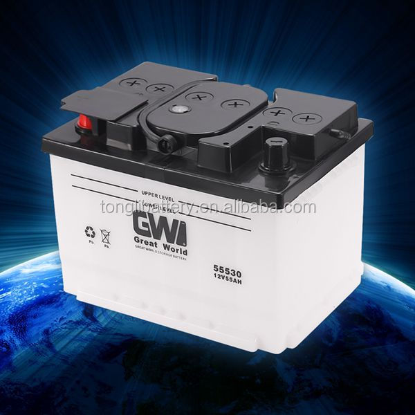 New design rechargeable storage battery for cars and trucks with12v 55ah