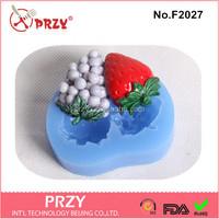 F2027 PRZY strawberry shape silicone fondant mold for cake decorating