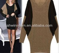 D91267S 2014 SPRING NEW MODELS FEMALE BAT SLEEVE LONG SLEEVE DRESS