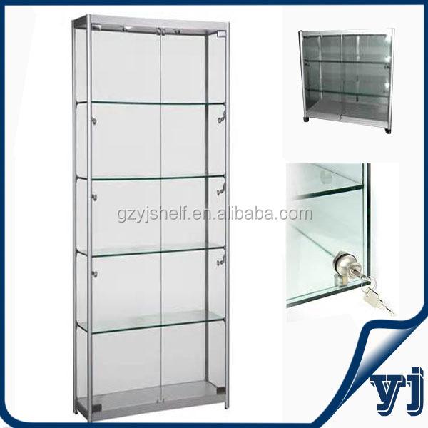 Aluminium Glass Rotating Display Case Wall Unit Display