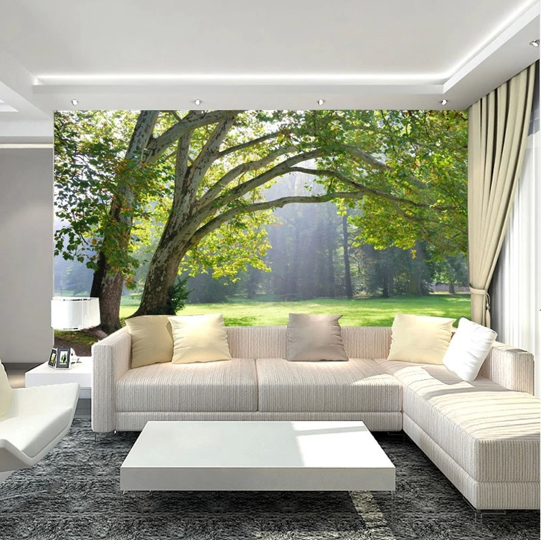 details about 3d wallpaper mural green three forest scenery photo wall. Black Bedroom Furniture Sets. Home Design Ideas