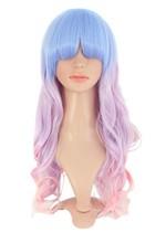 YILU Harajuku Style Mixed Light Blue/ Pink Long Natural Curly Cosplay Wig