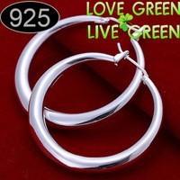 Halus lingkaran besar, Lubang cinta ulang tahun aksesoris wanita hadiah, 925 sterling perhiasan perak, Pejantan anting fashion