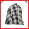 Custom White And Black Squares Calico Drawstring Shoe Dust Bag