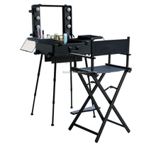 Professional studio hard side aluminum rolling cosmetic diaplay case with lighting and mirror
