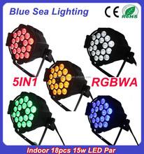2015 hotsale 18pcs x 15w 5in1 rgbwa led par 64 rgb dmx stage lighting
