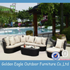Great luxury faux rattan outdoor sofa wicker garden sofa with comfortable cushions for wholesale