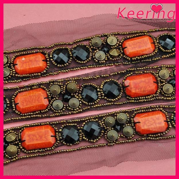 Newest Fashion Acrylic sew on mesh bead beaded trimming