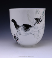 Cat pattern Environmental protection and health tableware Hand Painted Underglazed Porcelain modern vase