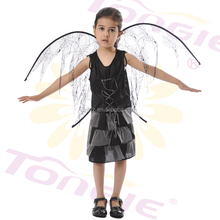 High quality halloween costumes kids girls sexy black witch costume with black wing