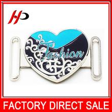 Heart shape custom silver plated zinc alloy metal coat waist belt buckle for women elastic belt