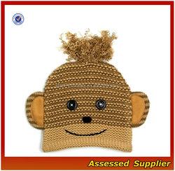 XY251/ Monkey imitate beanie hat for kids/ cute kids acrylic knit beanie hat