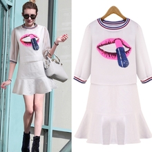 MS66735W 2015 fashion lip prints two piece women dresses shops