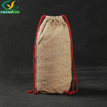 Wholesale customized mini jute drawstring bags with round bottom