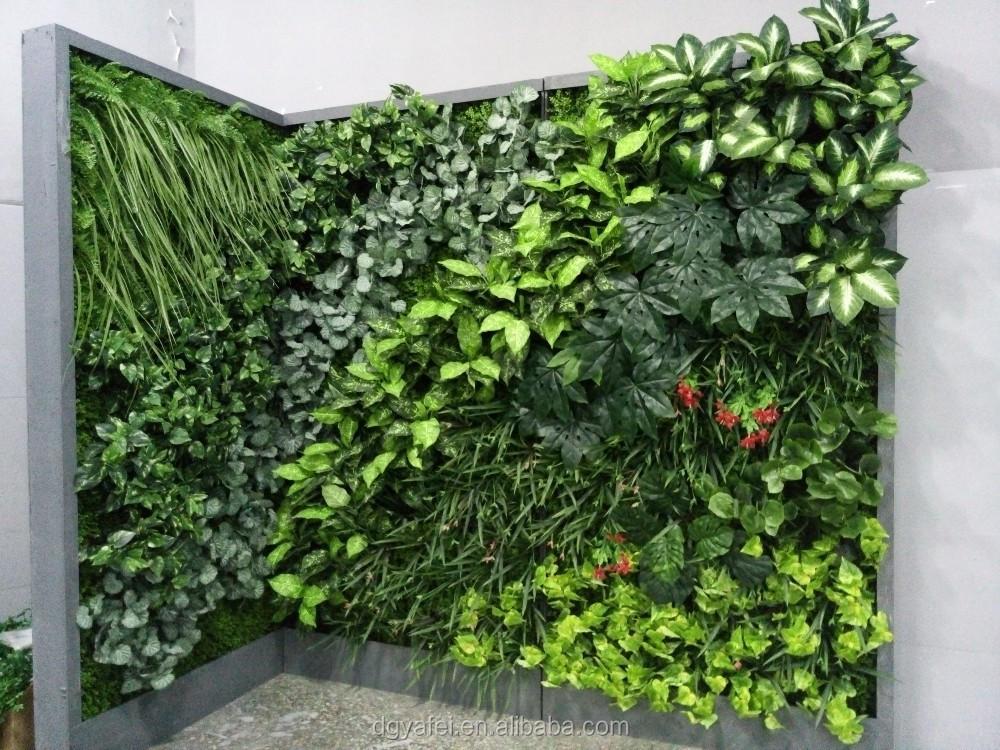 2015 best selling grama artificial planta parede for Plantas decorativas de plastico