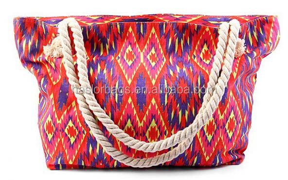 Mode motif toile sac fourre - tout corde poignée pour dame