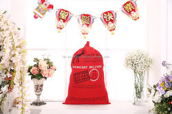 2015 China manufacture hot sales eco friendly Christmas santa cotton drawstring gift bag in stock with SGS certificate