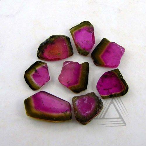 slice shape watermelon tourmaline gemstone