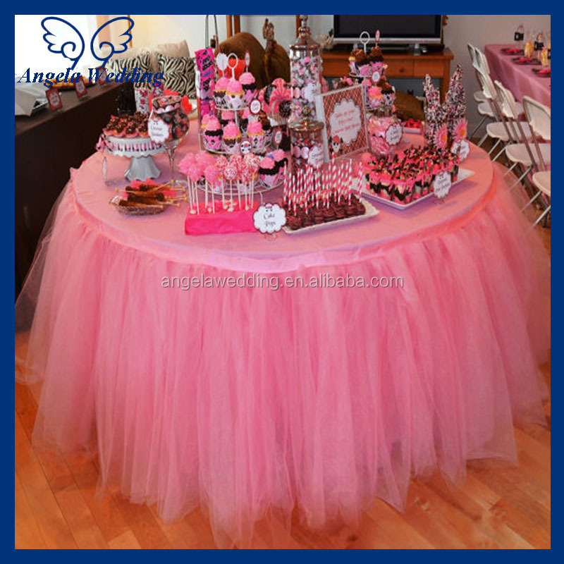 Bridal ruffled wedding pink tulle table skirt view pink tulle table