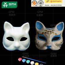 White Hand-Painting Pulp Paper Party Mask For Dance Halloween