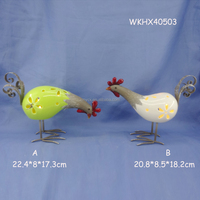 Promotional hand painted ceramic chickens and roosters