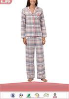 Fashion Lounge and Sleep Pale Pink Checked Flannel Pajamas/100% Cotton Sleepwear/Ladies Lounge Wear