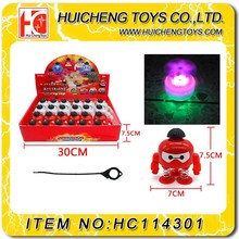 plastic abs material ECO friendly material funny angry boy LED light and music spinning top
