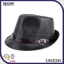Autumn and winter imitation black leather hat fedoras jazz hat