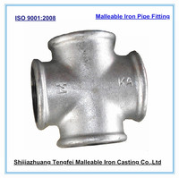 Malleable iron cross joint, galvainzed malleable iron pipe fitting