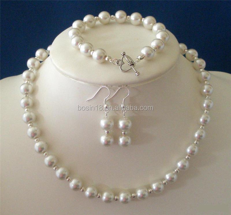 2015 el último diseño simple conjunto collar de perlas collar de perlas con cristal blanco y