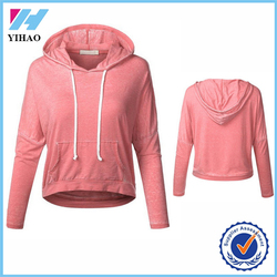 Yihao Women 2015 Blank Pullover Sportswear Hoodies Custom 100% Cotton Athletic Hoodie Loose Fit Plain Crop Tops Wholesale