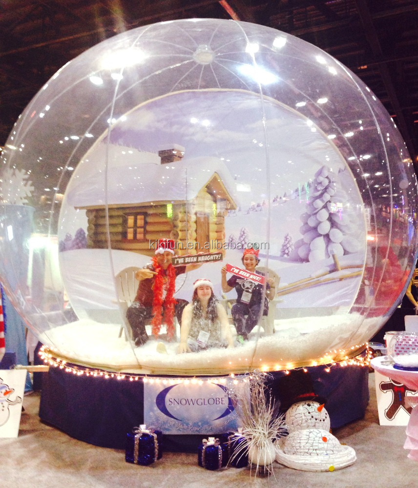Christmas decoration hot inflatable human snow globe with pvc material