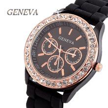 Brand GENEVA Luxury Rhinestone Quartz Silicone Jelly watch