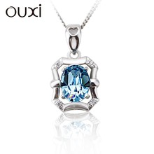 OUXI bottle shaped crystal pendant 925 sterling silver necklace manufacturer
