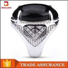 High end indonesian rings jewelry, fashion jewellery black agate stone men silver ring from China supplier