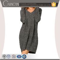 Loose Grey v neck long sleeves ladies sweater designer one piece dress with Hoodie